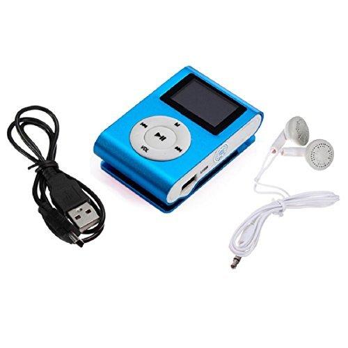 Tongshi Mini MP3 Player LCD Soporte de Pantalla Tarjeta Micro 32GB Negro Clase de eficiencia energética A+(Azul)