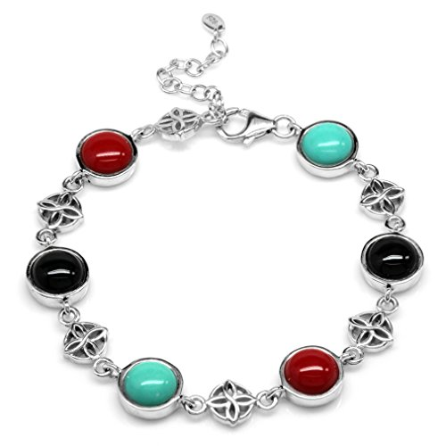 Silvershake Created Green Turquoise Onyx and Coral 925 Sterling Silver Flower Celtic Knot 7 to 8.5 Inch Adjustable Bracelet