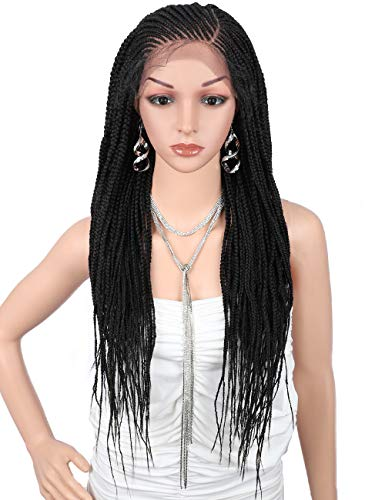 """Kalyss 31"""" Realistic Hand Braided Synthetic Lace Front Wigs with Baby Hair for Women 13X6"""" Wide Lace Natural Side Parting Lightweight Braiding Hair Cornrow Wig Lace Frontal Twist Box Braided Wigs"""