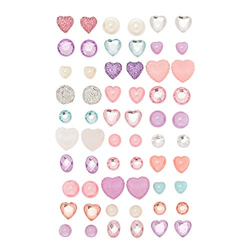 Claire's Club 3D Gem Stick On Earrings, Cute Jewelry for Girls, Assorted Styles and Colors, 30 Pack