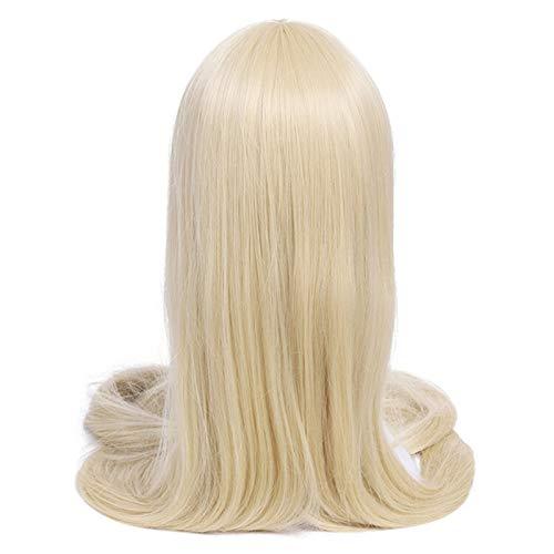 Rollenspel Pruik 60 inch 150 cm lange vrouwen pruiken 7 kleuren rechte beige zwarte blonde synthetisch haar pruik Pruik (Color : Beige, Size : 60inches)