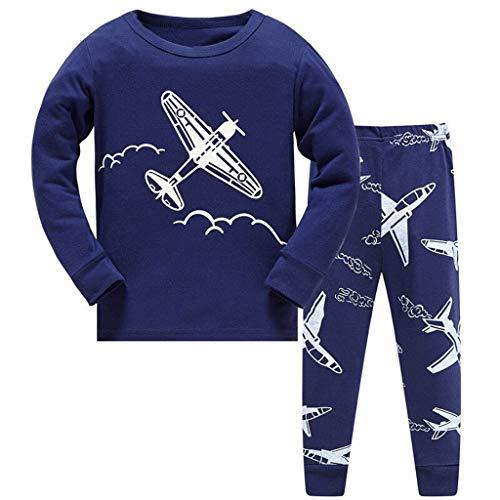 DAWILS Jungen Schlafanzug Lang Kinder Flugzeug Baumwolle Pyjama Zweiteiliger Schlafanzug Langarm Shirt und Pyjamahose 128