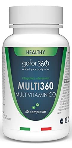 MULTI360 | Multivitaminico e Multiminerale con 16 Vitamine e Minerali Concentrati per Sostenere l'Organismo. Vitamina B, C, E, Calcio, Cromo, Ferro, Fosforo, Selenio, Zinco | gofor360