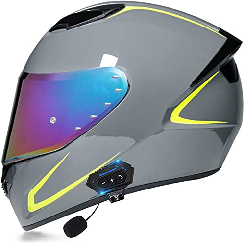 XLYYHZ Cascos Bluetooth para Motocicleta, Cascos integrales modulares para Motocicleta Auriculares con Doble Altavoz, Respuesta automática Manos Libres, Casco de Doble Visera Aprobado por DO