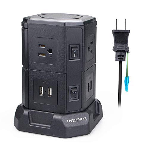 電源タップタワー型 延長コード usb コンセント 2層 6個口 USB×4ポート スイッチ付 省エネ急速充電 過負荷保護 oaタップ 雷ガード 2m ブラック PSE認証 NVEESHOX