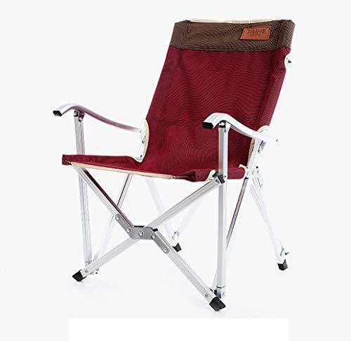 SHARESUN Outdoor opvouwbare campingstoel, aluminium legering ultra licht draagbaar met armleuning terug visstoel, voor volwassenen strand reizen vissen tuin schets, rood/groen