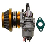 WOOSTAR Carburetor 13mm with Air Filter Gasket Assembly Replacement for 2 Stroke 43cc 47cc 49cc Mini Pocket Bike Chinese Quad ATV 4 Wheeler Scooter Brush Cutter Golden
