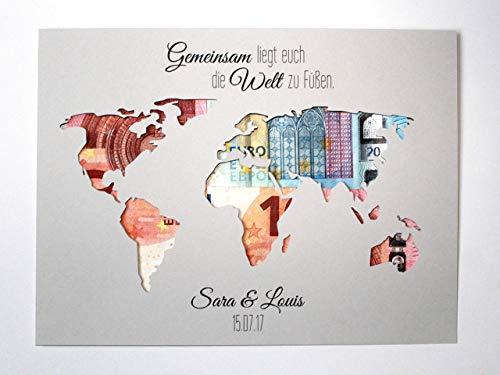 Geldgeschenk zur Hochzeit Weltkarte - Gemeinsam liegt euch die Welt zu Füßen OHNE Rahmen