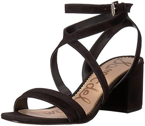Sam Edelman Women's Sammy Heeled Sandal, Black Suede, 6 M US