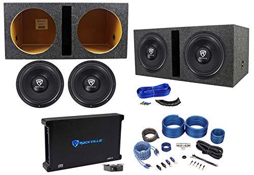 "2) Rockville W12K6D2 V2 12"" 4800w Subwoofers+Vented Box+Mono Amplifier+Amp Kit"