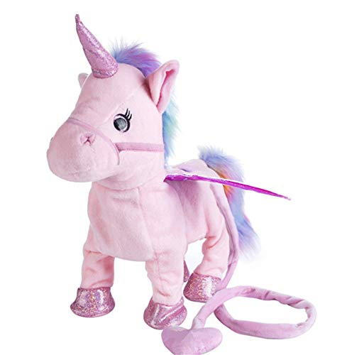 Yeying123 Peluche Caminar Unicornio Felpa Juguete Animales de Peluche Pony Animales Lindos Mascotas Caballo Felpa eléctrica Juguetes Musicales para niños niñas niños pequeños,Pink
