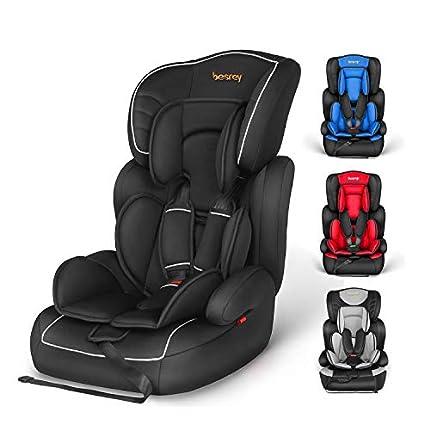 Silla de coche, Besrey bebe silla coche Grupo 1/2/3 para bebe/niños desde 9 meses a 12 años, 5 puntos fijos, Reposacabezas ajuste de altura de 4 posiciones, Puede sentarse o sentarse(Negro)