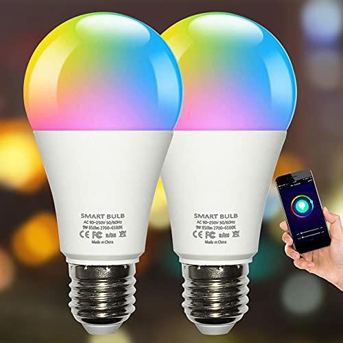 Plartree Bombilla LED Inteligente WiFi,Lámpara Regulable,Luces Cálidas/Frías 10W E27,2700K-6500K RGB Multicolor Compatible con Alexa Echo e Google Home,Control por Aplicación,2 Paquete