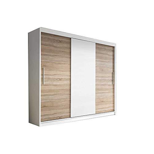 E-MEUBLES Armoire de Chambre avec 2 Portes coulissantes | Penderie (tringles) avec étagères (LxHxP): 250x218x61 Elba 2 BIS (Blanc Mat/Sonoma+ Blanc)