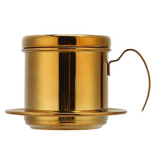 Cafetera, acero inoxidable, estilo vietnamita, cafetera, cafetera, goteo, cafetera, hogar, cocina, oficina, exterior(Oro)