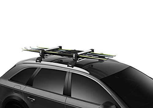 Thule SnowPack Ski/Snowboard Rack, 4 Pair-Aluminum, Medium (4 Pr/2 Boards)