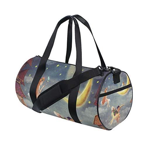 ZOMOY Sporttasche,Kinderhimmel rote Dachplatten bewölkt,Neue Druckzylinder Sporttasche Fitness Taschen Reisetasche Gepäck Leinwand Handtasche