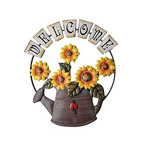 ZHIRCEKE Vintage Eisen Hängen Sonnenblume & Gießkanne Willkommensschild, Haustür Hängen Metall Willkommen Wandtafel Willkommensschild,Eingangstür Dekoration Anhänger,A