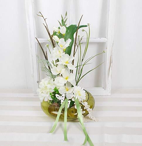 Tischgesteck mit weißen Blumen in grüner Glasschale, ganzjährige Deko, Gesteck