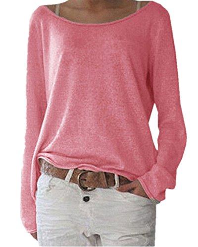ZANZEA Damen Langarm Lose Bluse Hemd Shirt Oversize Sweatshirt Oberteil Tops Y-rot EU 40-42/Etikettgröße M