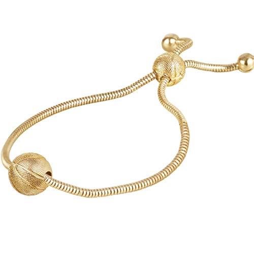 Ruby569y - Pulsera ajustable con cordón para mujer, mujer, mujer, madre, niña, cadena de aleación para mujer, mujer, hombre, regalo de Navidad, año nuevo, dorado