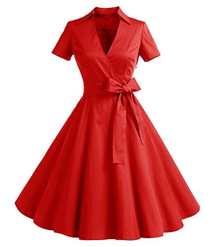 Gonna Vintage Anni 50 60 Audrey Hepburn Vestiti da Cocktail da Donna Elegante di Cotone Manica Corta Red S