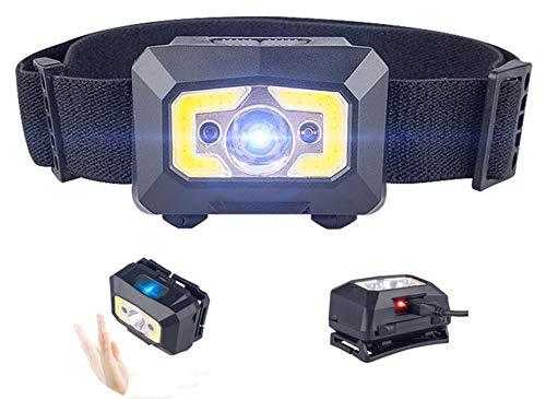 LED Stirnlampe, USB wiederaufladbare COB Stirnlampe Kopflampe Super hell 500 Lumen Wasserdicht Leichtgewichts Mini stirnlampen mit rotem Licht, Bewegungssensor für Laufen, Angeln, Campen, Kinder