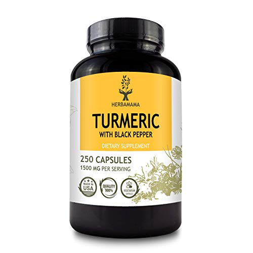 HERBAMAMA Turmeric Curcumin with Black Pepper - Extra Strength Organic Herbal Supplement to Support Immune System, Brain, Digestion & Joint Function - Vegan, Non-GMO Formula - 1500mg, 250 Capsules