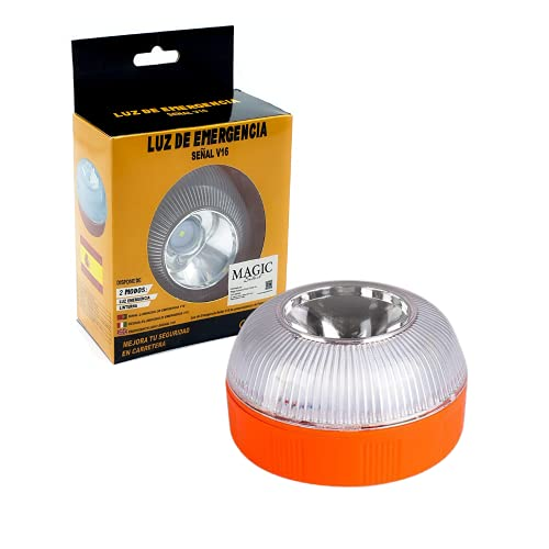 Luz de Emergencia V16 autorizada por la DGT para señalización en Carretera de Coche y Moto. Luz Amarilla Intermitente y Blanca Fija con Encendido Automático por Inducción Magnética. Pila Incluida