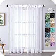 MRTREES Cortina para Ventana Dormitorio Translúcidas Visillos Paneles para Ventanas Sala para Niños Sala Comedor 2 Piezas 140×215cm Blanco