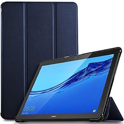 IVSO Funda Carcasa para Huawei MediaPad T5 10, Slim PU Protectora Carcasa Cover para Huawei MediaPad T5 10 10.1 Pulgadas 2018, Azul