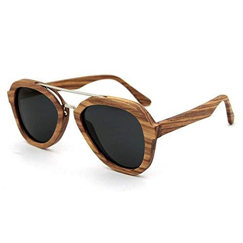 NNAA Gafas de sol polarizadas de conducción de los hombres de la moda de bambú gris UV400 Gafas de sol voladoras de metal para mujer