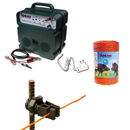 Recinto elettrico Kit con 1 Elettrificatore a doppia alimentazione 12V / 220V + 1 Filo 500 MT 6 Mm² + 100 pezzi isolatori per paletti in ferro - Recinzione Elettrica per cavalli mucche cinghiali