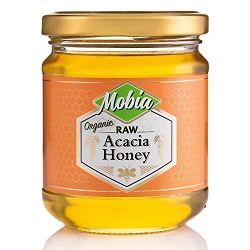 Mobia Akazie Bio-Honig – zertifizierter Bio-Rohhonig – Unpasteurisierter, heller Honig – Einzelne Herkunft, geschmiedet in Nordbulgararien aus dem Nektor des weißen Akazienbaums – 240 g Glas