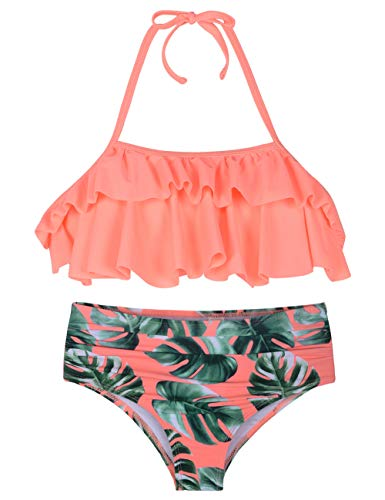 Hilor Girl's Bikini Set Crop Flounce Two Piece Swimsuits Kids Haler Bathing Suits Orange Leaves 5-6 Years