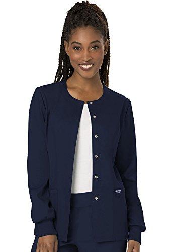 Cherokee Women's Snap Front Warm-up Jacket, Navy, Medium