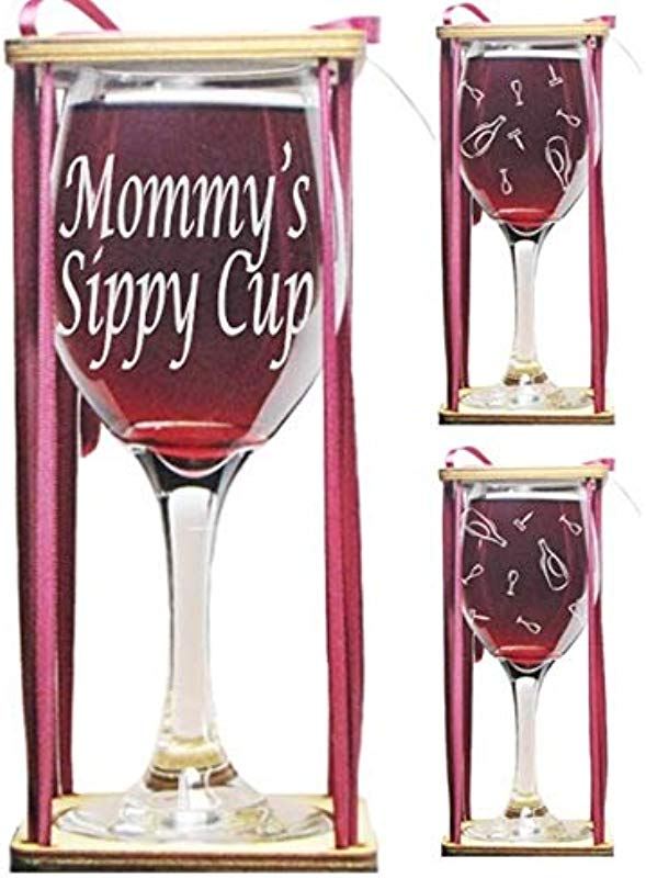 Mommy S Sippy Cup Stemmed Wine Glass With Charm And Presentation Packaging