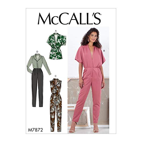 McCall Pattern McCall's M7872A5 Women's Romper and Jumpsuit Sewing Patterns, Sizes 6-14 Schnittmuster, Papier, einfarbig, 6-8-10-12-14