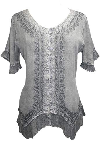 Agan Traders 305 B Bohemian Embroidered Shirt Top Blouse (3X, Silver Gray)