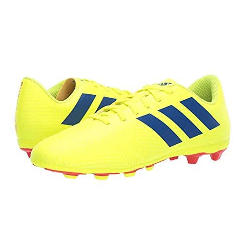 adidas Unisex-Kid's Nemeziz 18.4 FxG J, Solar Yellow/Football Blue/Active red, 4 M US Big Kid