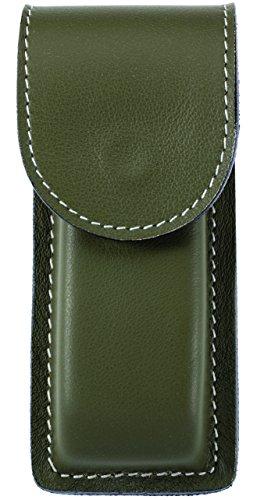 Herbertz Erwachsene Lederetui, olivgrün, Druckknopfverschluss, Gürtelschlaufe, für Messer mit Heftlänge 12 cm Zubehör, Mehrfarbig, One Size
