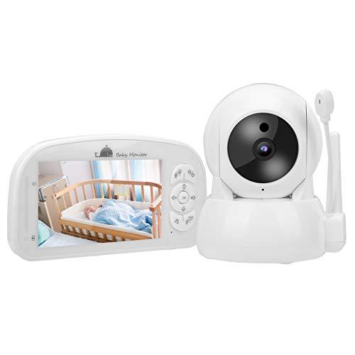 Monitor de bebé con cámara de vigilancia 1080P, monitor de video para bebés con pantalla TFT de 5 pulgadas, cámara PTZ de seguridad para el hogar, visión nocturna, detección de temperatura(EU)