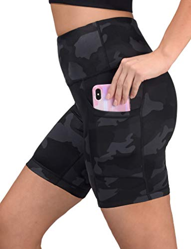 Yogalicious Womens High Waist Running Biker Shorts with Side Pockets - Black Camo 7' - Medium