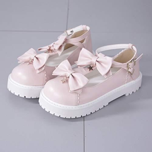 PINGXIANNV Lolita Schuhe Frühling Lolita Schuhe Kawaii Schuh Koreanische Mode Süße Bogen Stern Anhänger Freunde Cosplay Frauen Schuhe