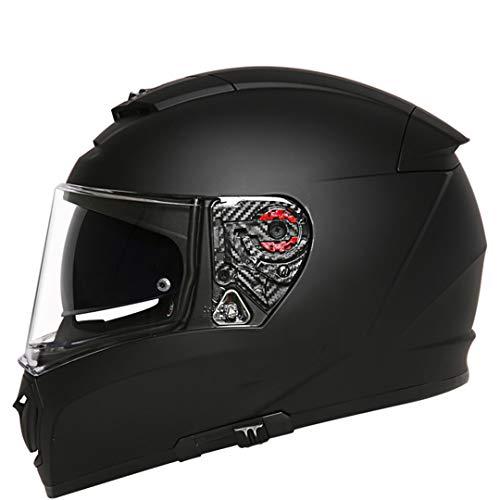 O-Mirechros Casco la Motocicleta Casque Moto Cromo la Cara Llena Doble Lente Cascos modulares Matte Black L