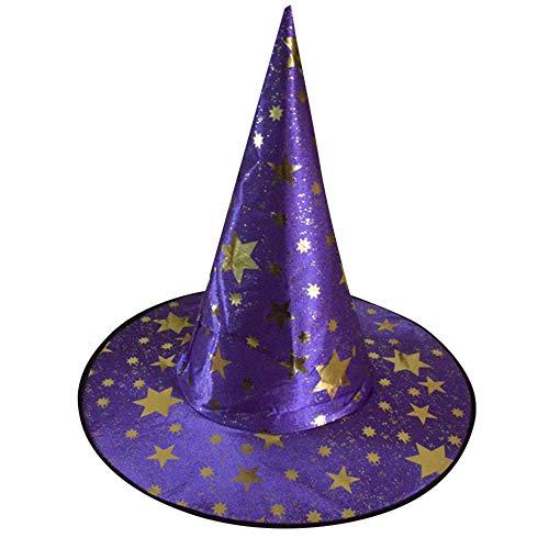 OYSOHE Halloween Show Spielt Magischen Hut Sterne Hut der Hexe Halloween Kostüm Zusatz (Lila,Einheitsgröße)