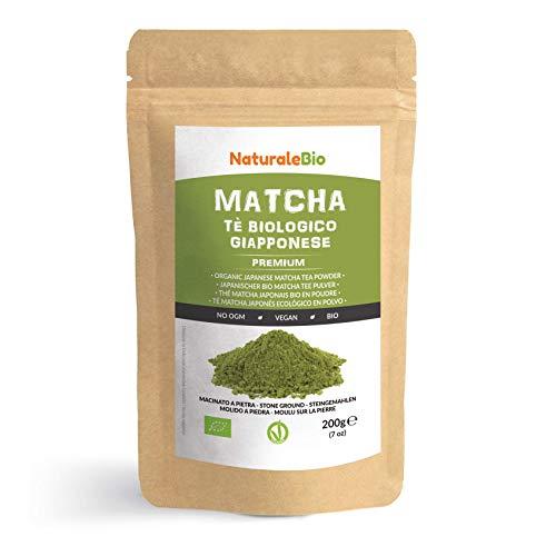 Thé Matcha Bio Japonais [ Premium Qualité ] 200 gr. Thé Vert Matcha en Poudre 100% Naturel. Matcha Green Tea Produit au Japon Uji, Kyoto. Idéal à Boire, pour Cuisiner et dans le Lait NATURALEBIO®