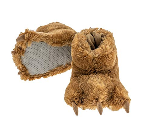Lazy One Animal Paw Slippers for Kids and Adults, Fun Costume for Kids, Cozy Furry Slippers, Bear, Monster (Brown, X-Large)