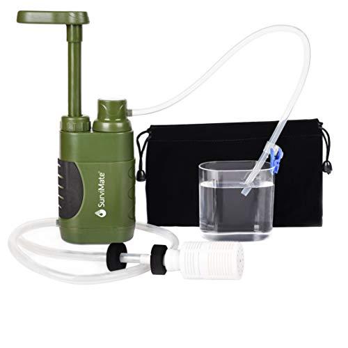 SurviMate Tragbare Wasserfilterpumpe für Wandern, Camping, Reisen, Notfallgebrauch mit Aktivkohle & 3 Filterstufen (grün)