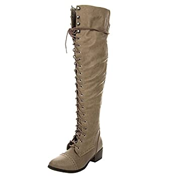 Breckelles Women s Alabama-12 Knee High Riding Boots,Premium Beige  6.5